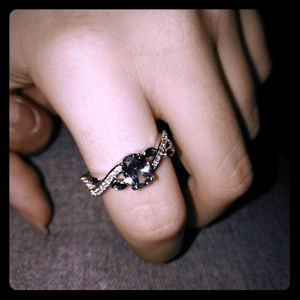 925 Silver Aqua navy Diamond ring ❤️